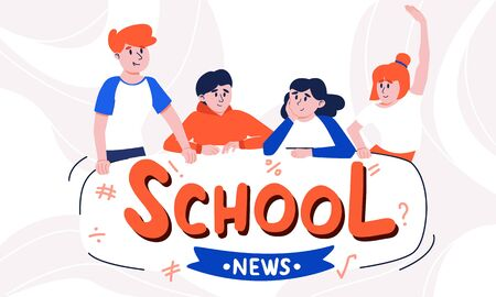 Casually dressed teenagers talking together and school news tagline. Several happy and interested boys and girls discussing latest class tidings.