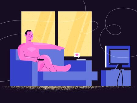 Nude man watching TV show or online video streaming on a sofa. Relaxing at home. Comfort, confidence and self-acceptance. Freedom from society rules staying home. Vettoriali
