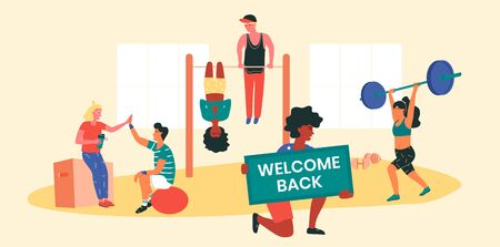 Sportsman with Welcome back banner, informing local workout community about the resumption of trainings. People working out together at park or playground doing functional exercises, yoga, stretching.  イラスト・ベクター素材