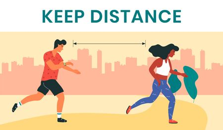 Female and male runners, keeping the distance as a preventive measure in coronavirus pandemic. Modern wristlet wireless device, tracking distance walked and speed, heartbeat, water balance, weight.  イラスト・ベクター素材