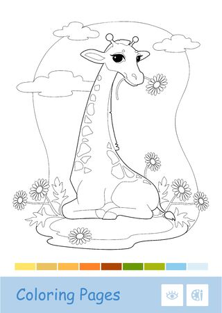 Colorless contour image of eating a flower giraffe in the woodland isolated on white. Wild animals, mammals, herbivores preschool kids coloring book illustrations and developmental activity.