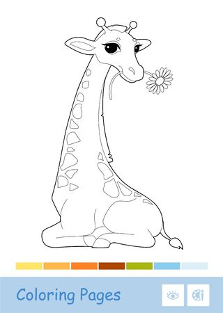 Colorless contour image of eating a flower giraffe isolated on white and suggested palette. Wild animals, mammals, herbivores preschool kids coloring book illustrations and developmental activity.