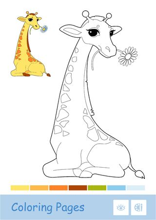 Colorful vector template and colorless contour illustration of a giraffe eating a flower. Wild animals and mammals preschool kids coloring book illustrations and developmental activity.