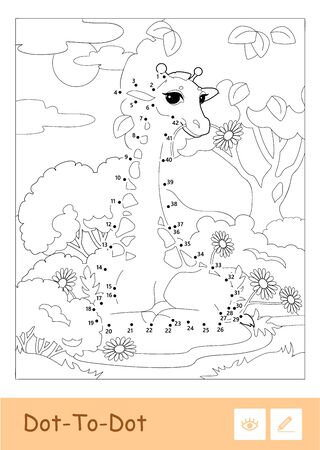 Colorless vector contour dot-to-dot illustration in a frame with a giraffe in a woodland. Wild animals, mammals and herbivores preschool kids coloring book illustrations and developmental activity.