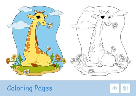 Colorful vector template and colorless contour illustration of a giraffe eating a flower in a woodland. Wild animals and mammals preschool kids coloring book illustrations and developmental activity.  イラスト・ベクター素材