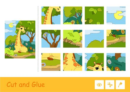Cut and glue vector puzzle learning children game with colorful image of a giraffe eating a flower in a woodlands. Wild animals educational activity for kids.