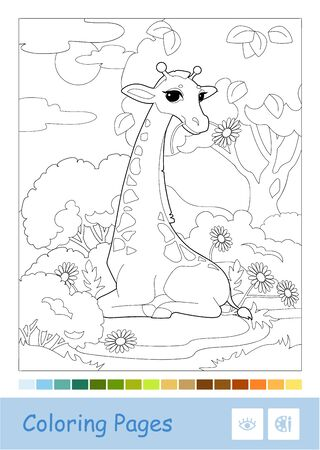Colorless contour iillustration of eating a flower giraffe in the woodland in a frame. Wild animals, mammals, herbivores preschool kids coloring book illustrations and developmental activity.