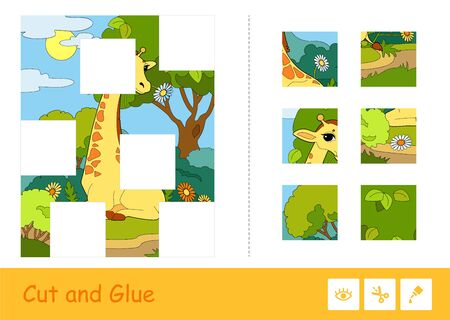 Cut and glue vector puzzle learning children game with colorful image of a giraffe eating a flower in a woodlands, divided into several parts. Wild animals educational activity for kids.  イラスト・ベクター素材