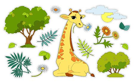 Colorful sticker pack with a giraffe, trees, flowers, sun isolated on white background. Cut and glue children games and decorations. Wild animals, mammals, herbivores preschool developmental activity.