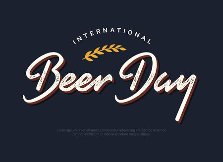International Beer Day dark horizontal banner template. Retro font tagline and minimal spike decorative element. Gratitude to brewers, bartenders, and beer technicians. Beer Gathering logo.