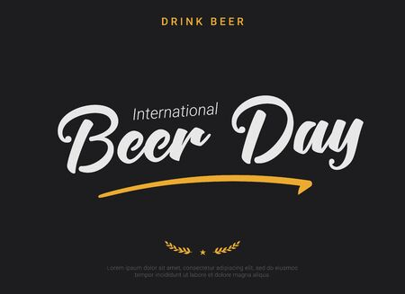 International Beer Day dark horizontal banner template. Retro font tagline, minimal star and spike decorative elements. Gratitude to brewers, bartenders, and beer technicians. Beer Gathering logo.  イラスト・ベクター素材