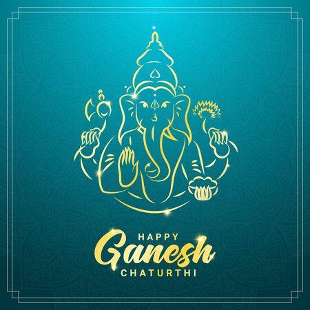 Ganesh chaturthi or Vinayaka Chaturthi Hindu festival celebrating the arrival of Ganesha to earth square banner template. Gold contour image of Ganesha with elephant head and mandala ornament.