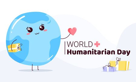 UNO World Humanitarian Day -19 August - horizontal banner template. Earth planet with cute face holding heart sign and presents. Recognizing people working and lost their lives humanitarian causes.  イラスト・ベクター素材