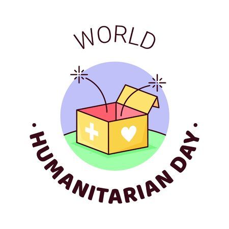 UNO World Humanitarian Day -19 August - banner template. Open humanitarian help box with sparkles, cross and heart signs on sides. Recognizing people working and lost their lives humanitarian causes.