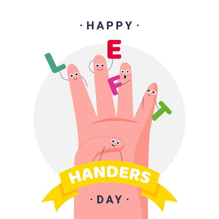 Happy International Left Handers Day - August, 13 - square banner template. Left palm, tagline between the fingers and planet-like orbits around. Celebrating sinistrality.  イラスト・ベクター素材