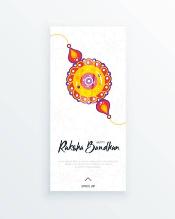 Happy Raksha Bandhan festival vertical story template. Traditional rakhi amulet to sisters from brothers as sign of protection and handwritten tag. Hindu culture. Saluno, Silono or Rakri celebration.  イラスト・ベクター素材