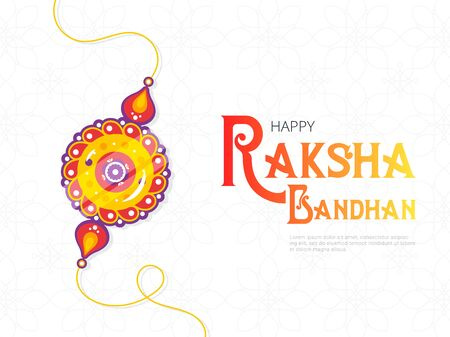 Happy Raksha Bandhan festival banner template. Traditional rakhi amulet given to sisters by brothers as sign of protection and decorative tagline. Hindu culture. Saluno, Silono or Rakri celebration.  イラスト・ベクター素材