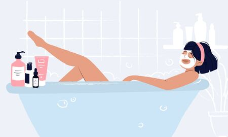 Young girl laying in bathtub with face mask doing hygiene and self care and enjoying her beauty ritual. Woman bathroom with cosmetics around: cream, mask, serum dropper bottle, hair spray and shower.  イラスト・ベクター素材
