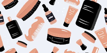 Men hygiene and self care seamless pattern. Cosmetic salon or barber shop repetitive background. Mustache comb, odecolone, round brush, cream tube, hair wax jar, swob and mustache oil dropper bottle.