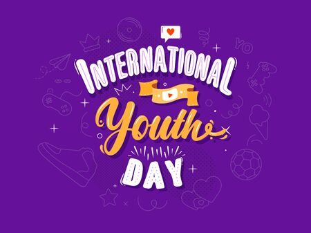 International Youth Day horizontal banner template. Playful caption with like bubble, film tape, video player, soccer ball, gaming console, ice cream, sneakers icons. Teens and young celebration.