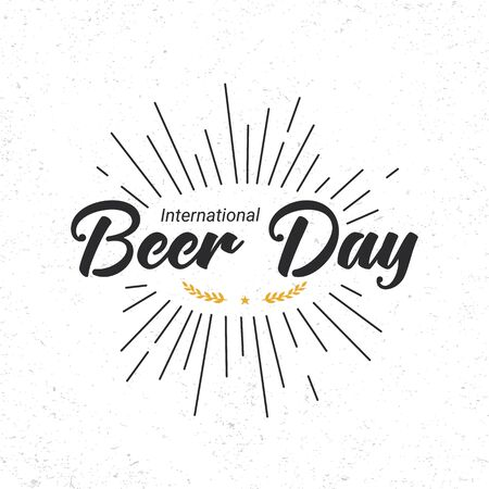 International Beer Day minimal square banner template. Retro font tagline, sun rays, star and spike decorative elements. Gratitude to brewers, bartenders, and beer technicians.
