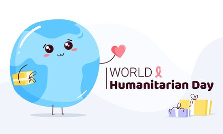 World Humanitarian Day -19 August - horizontal banner template. Earth planet with cute face holding heart sign and presents. Recognizing people working and lost their lives humanitarian causes. Vettoriali
