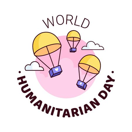 World Humanitarian Day - 19 August - square banner template. Parachutes delivering boxes with humanitarian help through clouds. Recognizing people working and lost their lives humanitarian causes.