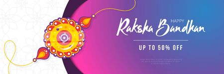 Raksha Bandhan discount sale banner template. Traditional rakhi amulet given to sisters by brothers as sign of protection and hand written tagline. Hindu culture. Saluno, Silono or Rakhi celebration.