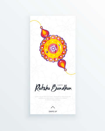 Happy Raksha Bandhan festival vertical story template. Traditional rakhi amulet to sisters from brothers as sign of protection and handwritten tag. Hindu culture. Saluno, Silono or Rakri celebration.