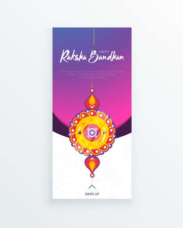 Happy Raksha Bandhan festival vertical story template. Traditional protection rakhi amulet to sisters from brothers and handwritten tag on vivid background. Hindu culture. Saluno, Silono or Rakri.  イラスト・ベクター素材
