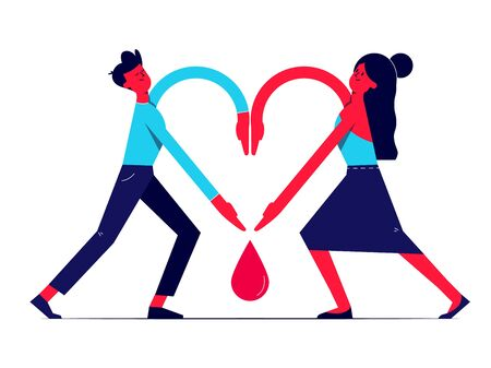 Man and woman holding hands together in shape of heart and blood drop between them. Paying respect to donors