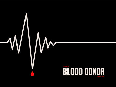 World Blood Donor Day annually celebrated on June, 14. Minimal horizontal banner template with the cardiogram curve