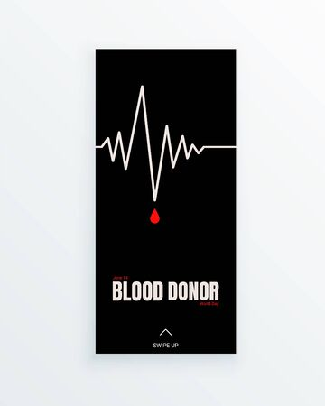 World Blood Donor Day annually celebrated on June, 14th. Minimal vertical story template with the cardiogram curve  イラスト・ベクター素材