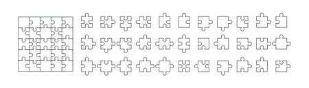 Outline puzzle net isolated on white background. Jigsaw cutting scheme square template and all possible shapes of puzzle pieces collected correctly. Solution concept. Mobile app puzzle game template.