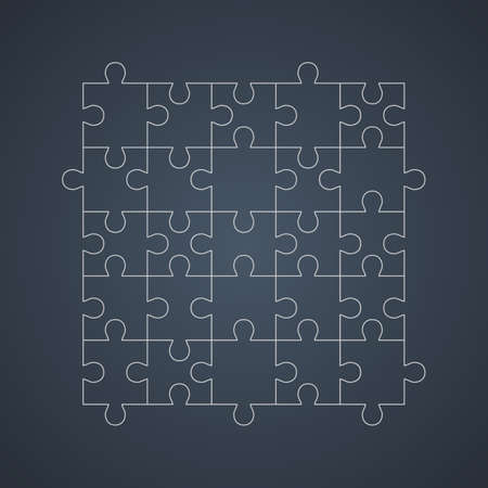 Outline puzzle net isolated on dark background. Jigsaw cutting scheme square template. Puzzle pieces collected correctly. Solution concept. Mobile app puzzle game template.