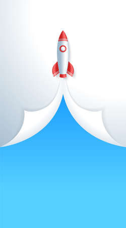 Business start up concept space rocket take off vertical story template. Rocket spacecraft launching up and pulling curled up paper corners in blue sky. Revealing new product banner or flyer.