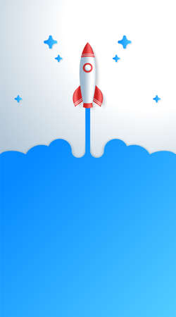 Business start up concept space rocket take off vertical story template.