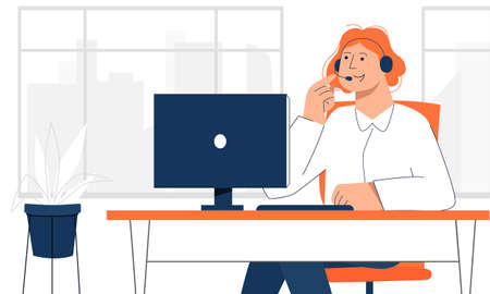 Female office worker making online call with the customer to avoid direct contact. Back to office after the quarantine lockdown. New normal rules of prevention the second wave of coronavirus.  イラスト・ベクター素材