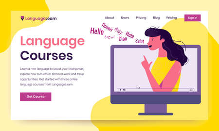 Vector first screen template with female language tutor demonstrating how sounds are formed, saying greetings. Learning languages on online and offline courses with professionals