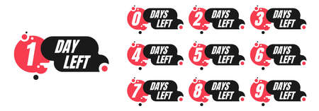 One-ten days left red and black promotion vector badges isolated on white background. Countdown left days banner, poster, flyer, sticker set elements.  イラスト・ベクター素材