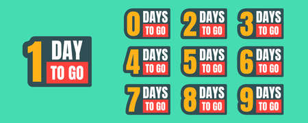 One-ten days to go yellow, white, red, black promotion vector badges on green background. Countdown left days banner, poster, flyer, sticker set elements. Best deal symbols  イラスト・ベクター素材