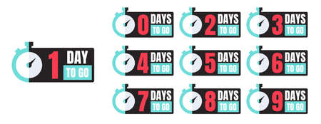 One-ten days to go blue, white, red, black promotion vector badges with a timer isolated on white. Countdown left days banner, poster, flyer, sticker set elements. 向量圖像