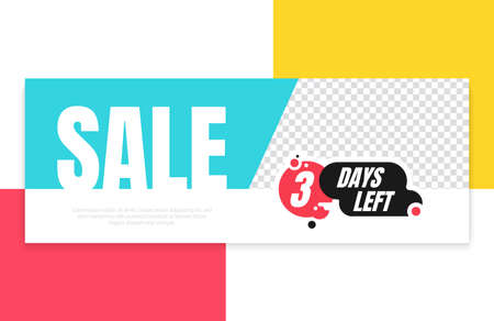 Three days left red, black, blue, yellow and white promotion vector banner template. Countdown left days poster, flyer, elements.