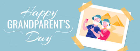 Happy grandparents day horizontal banner template. Senior couple in safari hats is taking selfie near the Egyptian pyramids. Active leisure for older people.