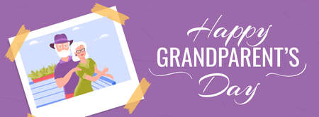 Happy grandparents day horizontal banner template with smiling grandfather and grandmother at the restaurant balcony enjoying fresh air isolated on white background.
