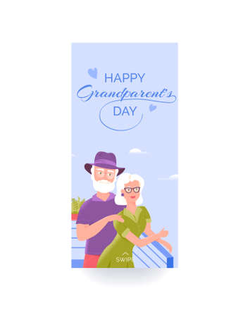 Happy grandparents day colorful social media story template with smiling grandfather and grandmother at the restaurant balcony enjoying fresh air isolated on white background.