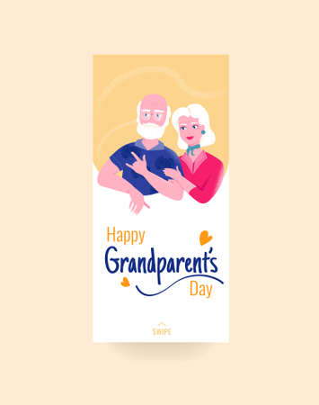 Happy grandparents day colorful social media story template with smiling grandfather and grandmother on yellow background. Beautiful elderly couple. Family bondings