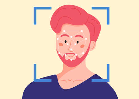 Security scanning frame and dots polygonal mesh on the male person head. Facial recognition system. Man being checked via face identification technology.