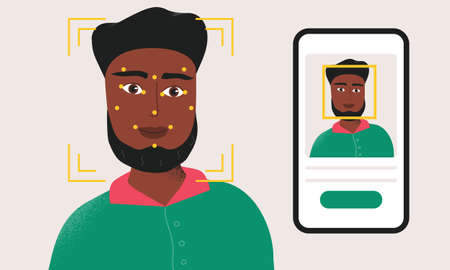 Man being checked via smartphone face identification technology. Facial recognition system. Security scanning frame and dots on the head of male person.