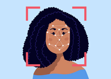 Security scanning frame and dots polygonal mesh on the female person head. Facial recognition system. Woman being checked via face identification technology.